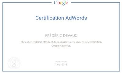 certification google adwords fred devaux