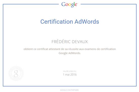 Certification Google Adwords Frédéric Devaux